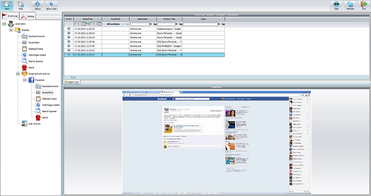 Spyrix Facebook Monitor full screenshot