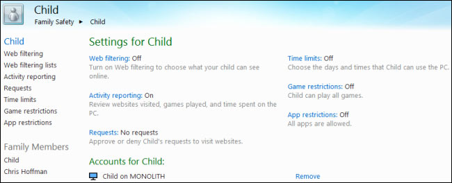 parental control and windows 8