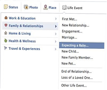 "The new add-on to Facebook timeline option: ""Expecting Baby"""
